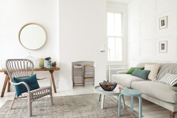 Mẫu nội thất nhà đẹp sơn màu trắng sữa